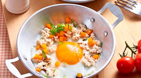 เมนูไข่ ไข่กระทะไก่สับ