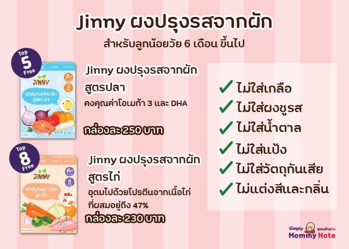 Jinny ผงปรุงรสจากผัก สูตรปลา_หน้า ไม่มีสารเจือปน